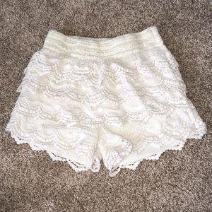 Pants - White Ruffled Shorts